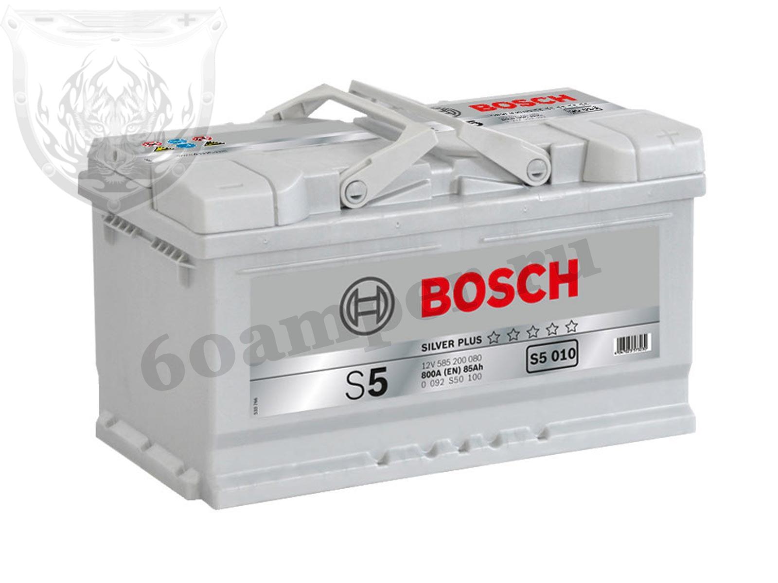 BOSCH 85 А/ч Обратный Низкий S5 010 SILVER PLUS (585 200 080)