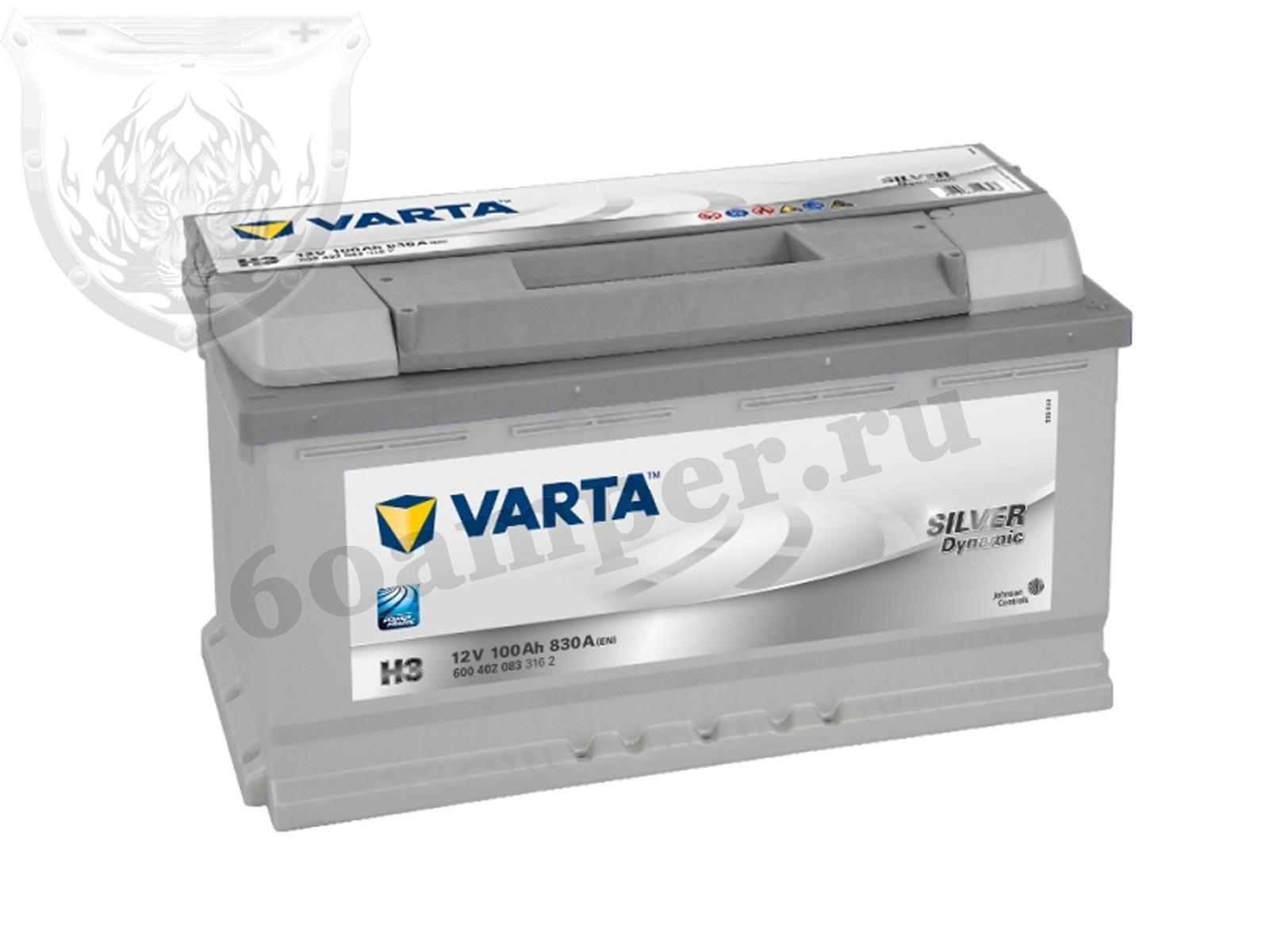 VARTA 100 А/ч Обратный SILVER H3 (600 402 083)